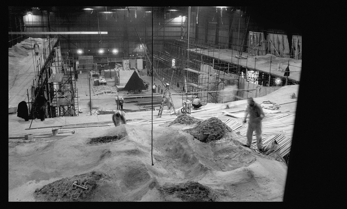 Full-sized lunar trench set being constructed, when the monolith was still a 'pyramid' shape