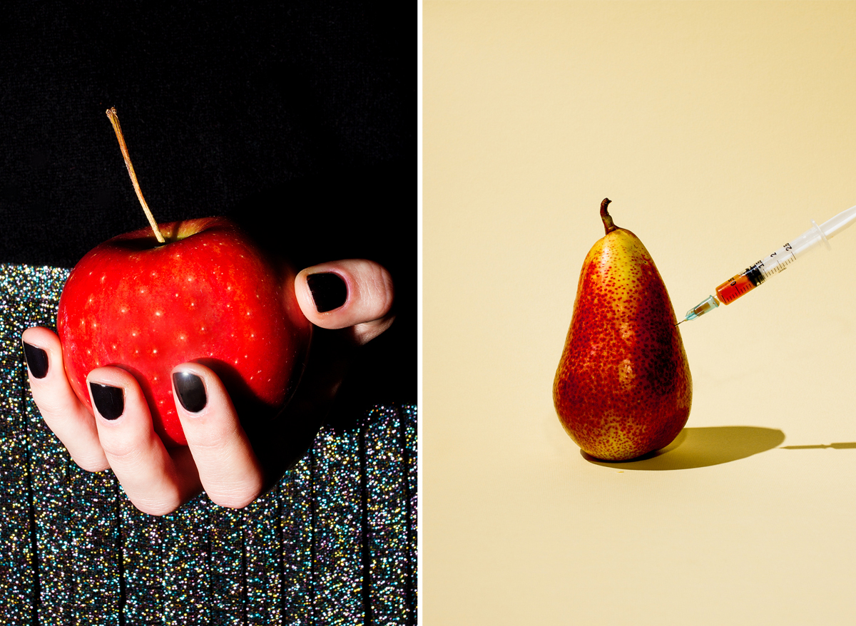 Red apple, 2013, and Pear, 2013, (both personal work) by Maurizio Di Iorio
