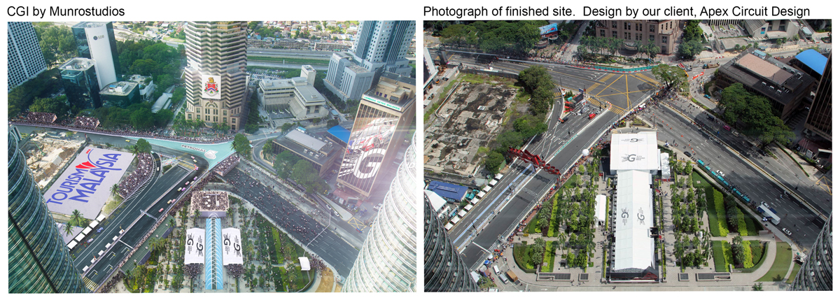 Race circuit before and after visualisation by Munrostudios