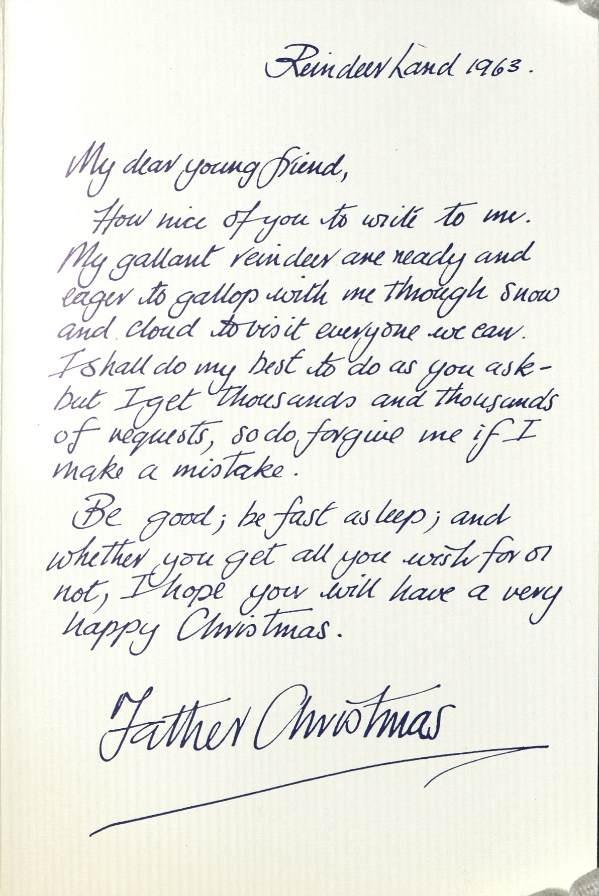 Letter from Santa 1963. © Royal Mail Group Ltd, courtesy of The British Postal Museum & Archive