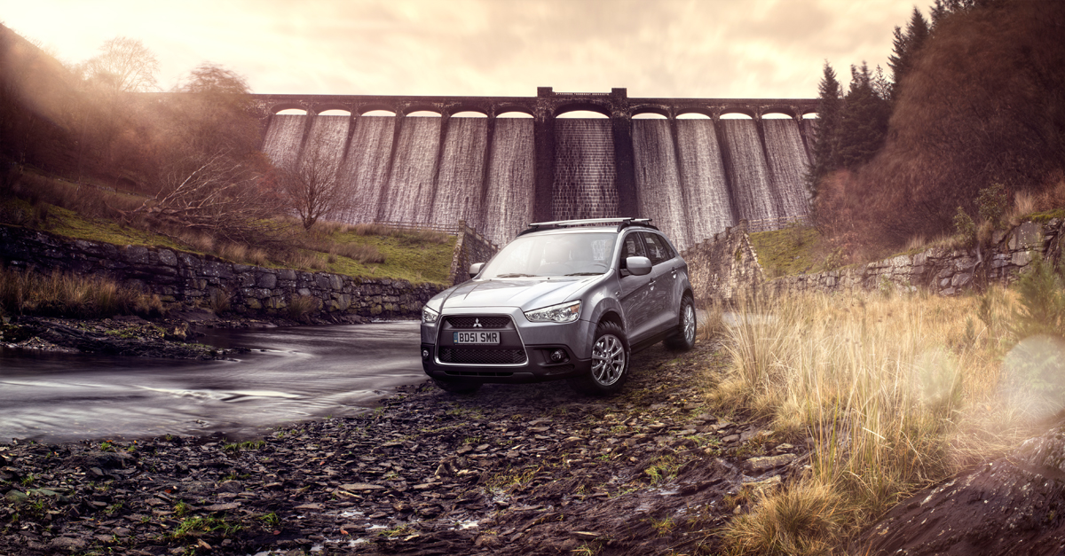Off-road parking: Boldly taking a vehicle where it had never gone before, Shadowplay used their CGI skills to blend this Mitsubishi seamlessly into a Welsh landscape previously shot on location.