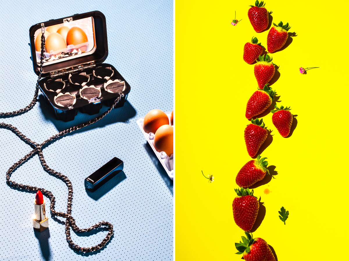 Chanel Bag for Forget Them magazine, 2014, and Strawberries, 2013, for it's nice that