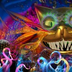 wonderland projection including the Cheshire Cat (from Lysander Ashton and 59 Productions)