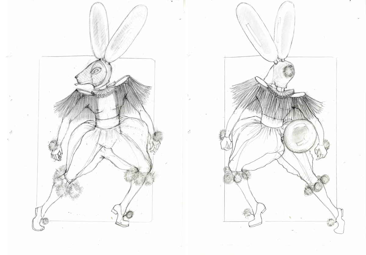 Costume designs for the White Rabbit