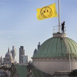 LONDON, ENGLAND - JANUARY 25: The 'UTOPIA 2016' flag designed by Jeremy Deller and Fraser Muggeridge studio is raised above Somerset House on January 25, 2016 in London, England. The flag heralds the launch of ëUTOPIA 2016: A Year of Imagination and Possibilityí at Somerset House. In celebration of the 500th anniversary of Thomas Moreís Utopia, Somerset House will be staging four seasons of events, exhibitions and new commissions exploring the idea of Utopia throughout 2016.(Photo by Peter Macdiarmid/Getty Images for Somerset House)