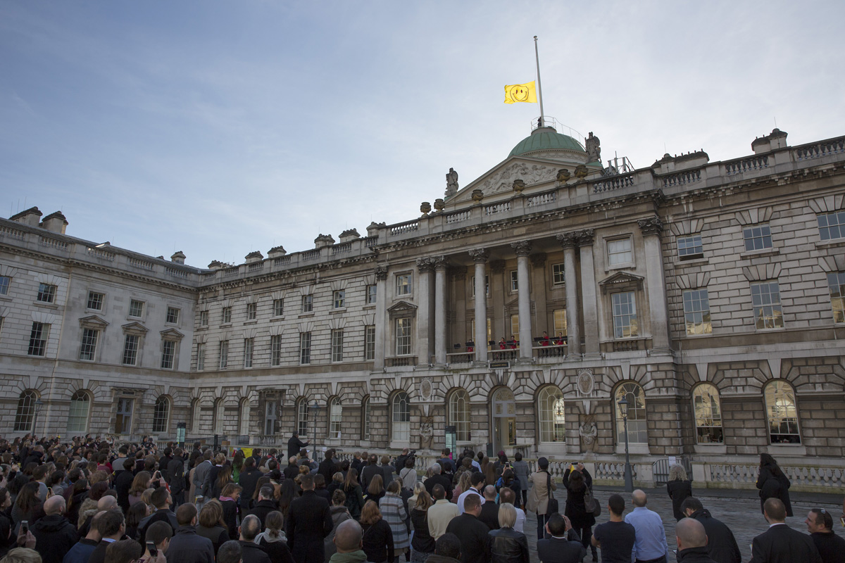 LONDON, ENGLAND - JANUARY 25: The 'UTOPIA 2016' flag designed by Jeremy Deller and Fraser Muggeridge studio is raised above Somerset House on January 25, 2016 in London, England. The flag heralds the launch of ëUTOPIA 2016: A Year of Imagination and Possibilityí at Somerset House. In celebration of the 500th anniversary of Thomas Moreís Utopia, Somerset House will be staging four seasons of events, exhibitions and new commissions exploring the idea of Utopia throughout 2016. (Photo by Peter Macdiarmid/Getty Images for Somerset House)
