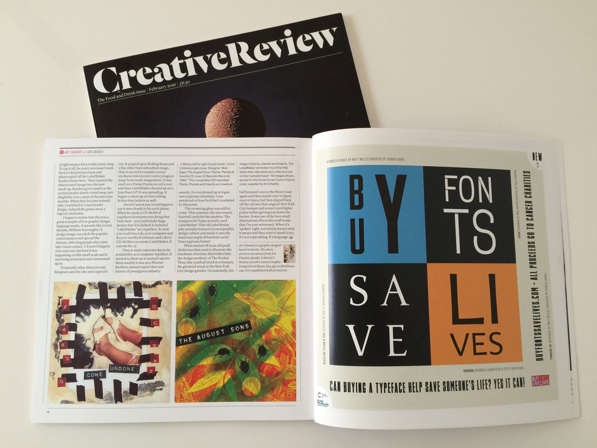 The February issue of CR includes a full-page ad for Buy Fonts Save Lives, donated by CR