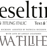 The Heseltine typeface family was originally produced as a gift from Haymarket Media Group to Lord Heseltine for his 75th birthday. Kindly donated by Lord Hesletine to the BuyFontsSaveLives campaign, the typeface was designed by Paul and Pat Hickson