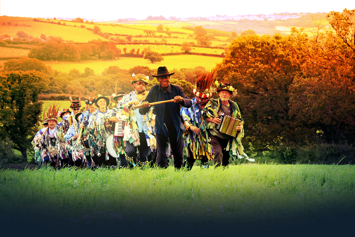 Wilfred Emmanuel-Jones leads a troupe of Morris Dancers in The Black Farmer TV ad