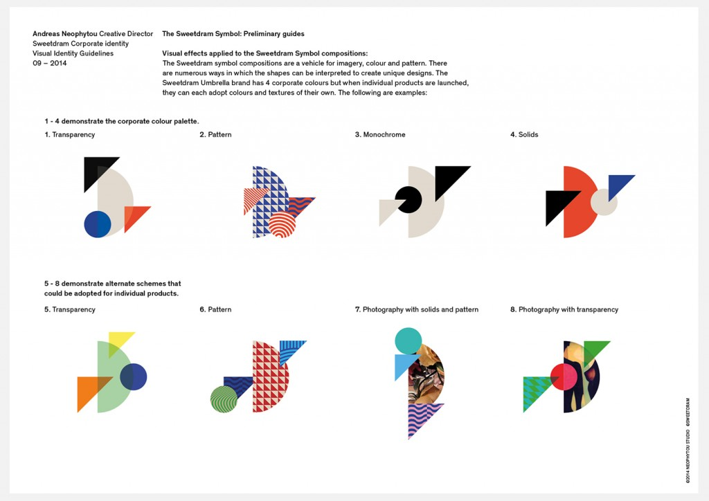 The Sweetdram identity system is based on four geometric elements which can vary according to their relative size and position