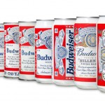 Budweiser cans through the ages, finishing with the 2011 version