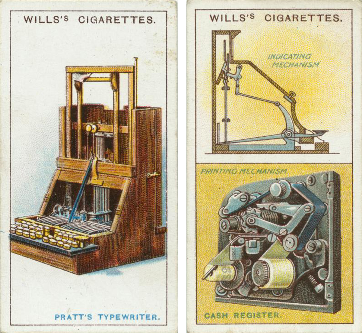 Wills Cigarettes Cards, showing famous inventions, including a cash register mechanism and Pratt's typewriter