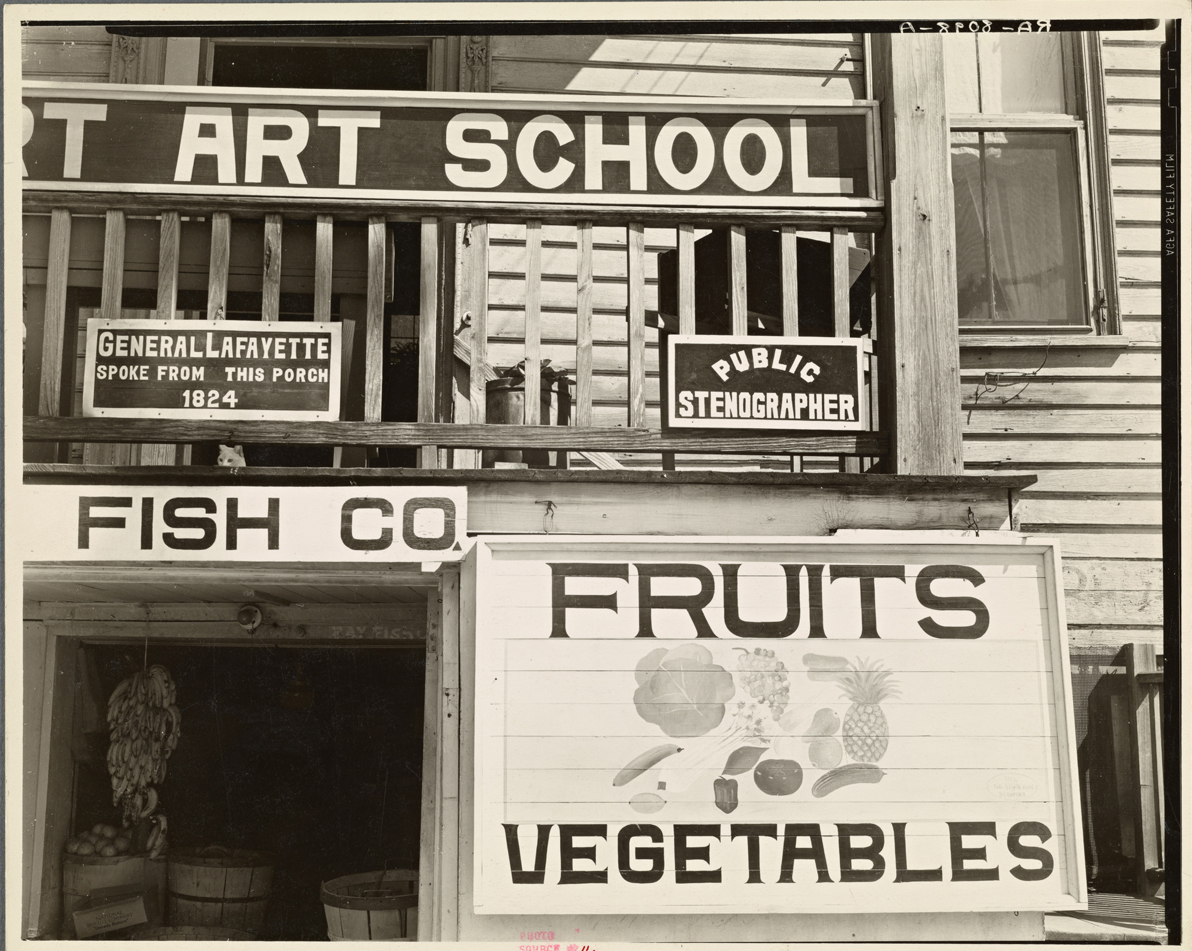Fruit sign, Beaufort, South Carolina, 1936 (Photographer: Walker Evans)