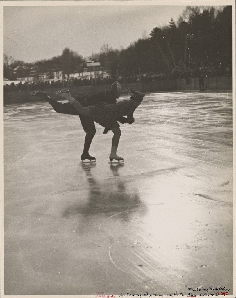 Winter sports, figure skating. Hanover, New Hampshire, 1936 (Photographer: Arthur Rothstein)