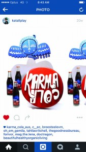 Karma Cola identity as made into a piece of stained glass by superfan, Spin Dunbar