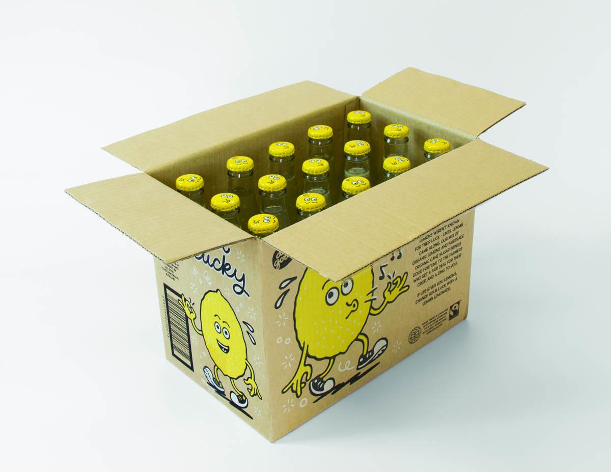 Box of Lemmy lemonade; Karma Cola cups.