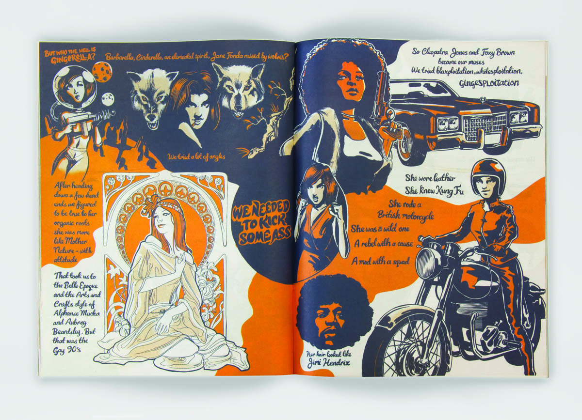Spread from issue two of All Good's magazine, What Goes Around, showing the evolution of the Gingerella identity design, as drawn by James Stewart