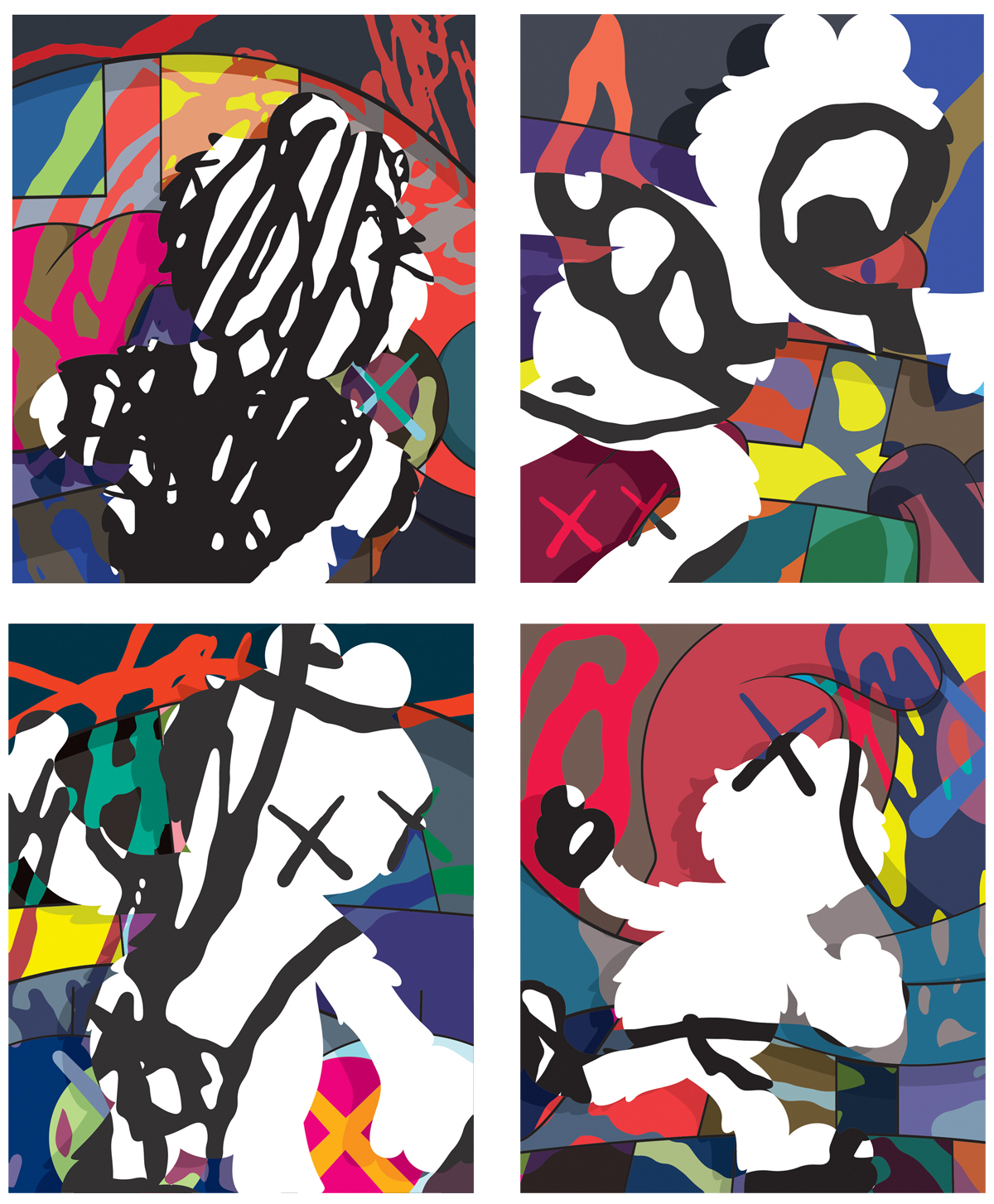 Survival Machine canvases, 2015, KAWS
