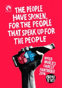 Karma Cola poster celebrating being 'Fairest Fairtrader' at the 2014 Faitrade Awards