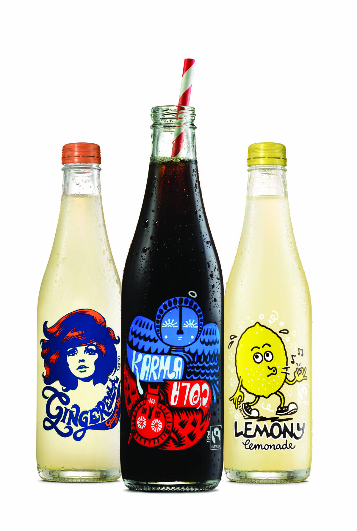 The three All Good drinks brands. Simon Coley worked with Creative Heath Lowe and designer Emma Kaniuck from Special Group on the original labels