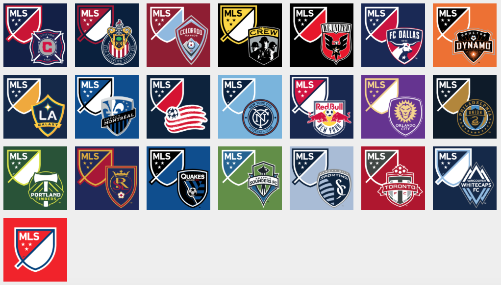 The MLS logo and team colour variations