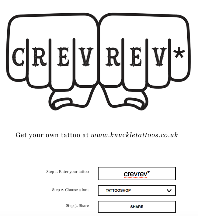 Our attempt to create our own knuckle tattoo with the Knuckle Tattoo Generator