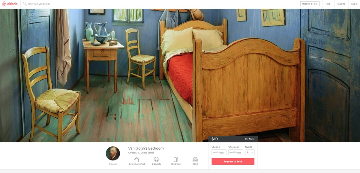 Stay in Van Gogh's bedroom via Airbnb and the Art Institute of Chicago