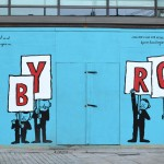 Byron hoarding illustrated by Jean Jullien at Manchester's Piccadilly. Design and image: Charlie Smith Design, charliesmithdesign.com