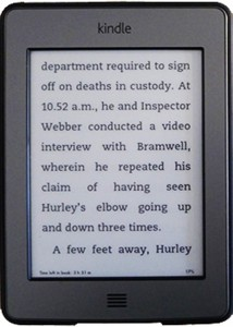 Kindle device set to a 36-point typeface