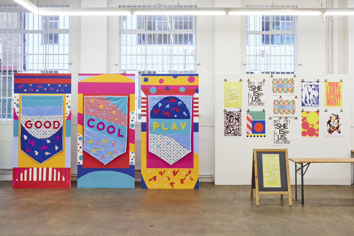 Artwork left by Theresa Bates, a student at the University of the West of England; Right: Prints on sale at Protein, including 'She Is Us' print by Hilma Sassa, a student at LCC