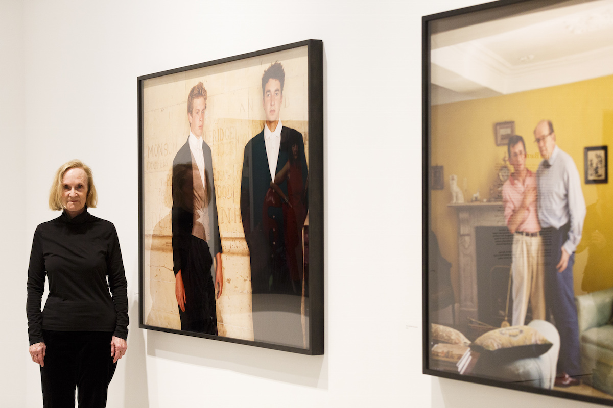 Tina Barney with two of her portraits