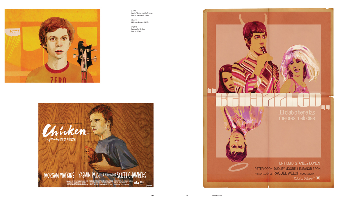 Film posters by Michael Gillette in spread from Drawn in Stereo