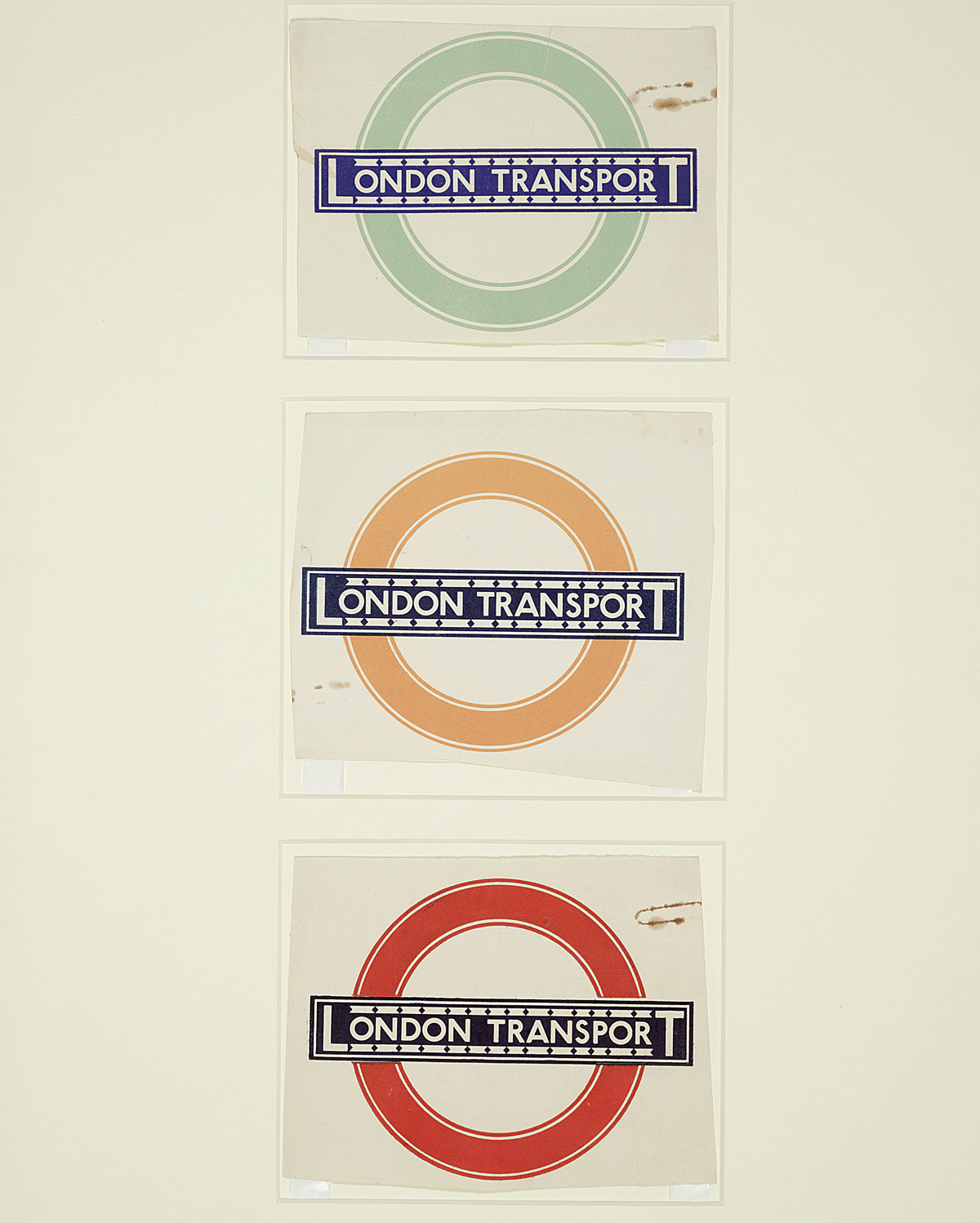 Top: One inch monoline sans serif 'Railway' type designs by Edward Johnston, 1916; Above: Bulls Eye. Images: © Crafts Study Centre