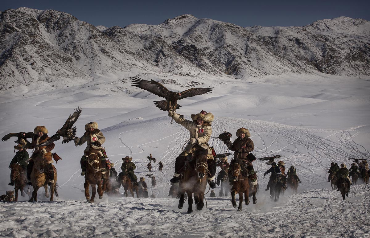 on January 30, 2015 in Xinjiang, China. The Eagle Hunting festival, organised by the local hunting community, is part of an effort to promote and grow traditional hunting practices for new generations in the mountainous region of western China that borders Kazakhstan, Russia and Mongolia. The training and handling of the large birds of prey follows a strict set of ancient rules that Kazakh eagle hunters are preserving for future generations.