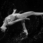 KAZAN, RUSSIA - JULY 28: (EDITORS NOTE: Image has been converted to black and white.) A member of the Spain team competes in the Women's Team Free Synchronised Swimming Preliminary on day four of the 16th FINA World Championships at the Kazan Arena on July 28, 2015 in Kazan, Russia. (Photo by Matthias Hangst/Getty Images)