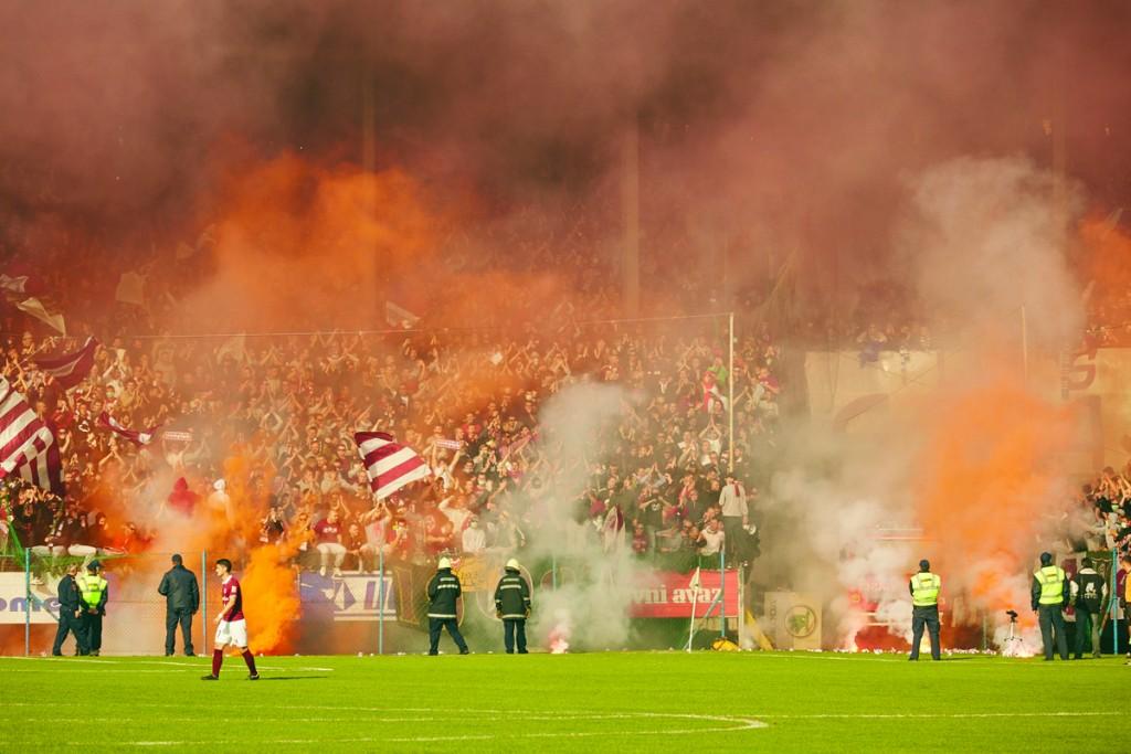 FK Sarajevo fans at the Sarajevo derby.