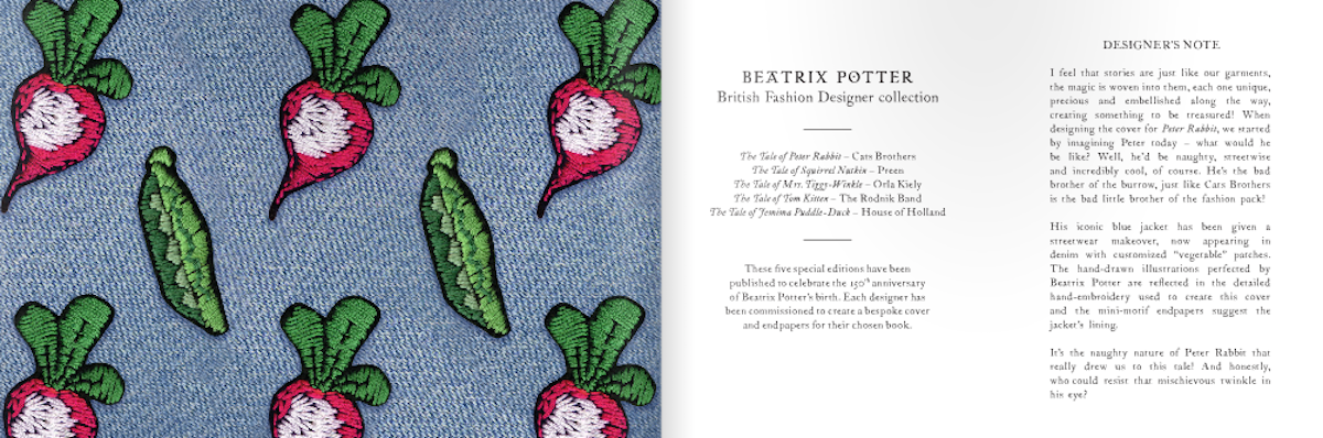 Endpaper and opening page of The Tale of Peter Rabbit