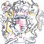 ink and pastel drawing based on the UK coat of arms, an early sketch towards the cover design, included in the CD digipak booklet. The lion's aggressive face and the unicorn's chains particularly influenced the cover design. The birds and keys first appeared on this drawing.