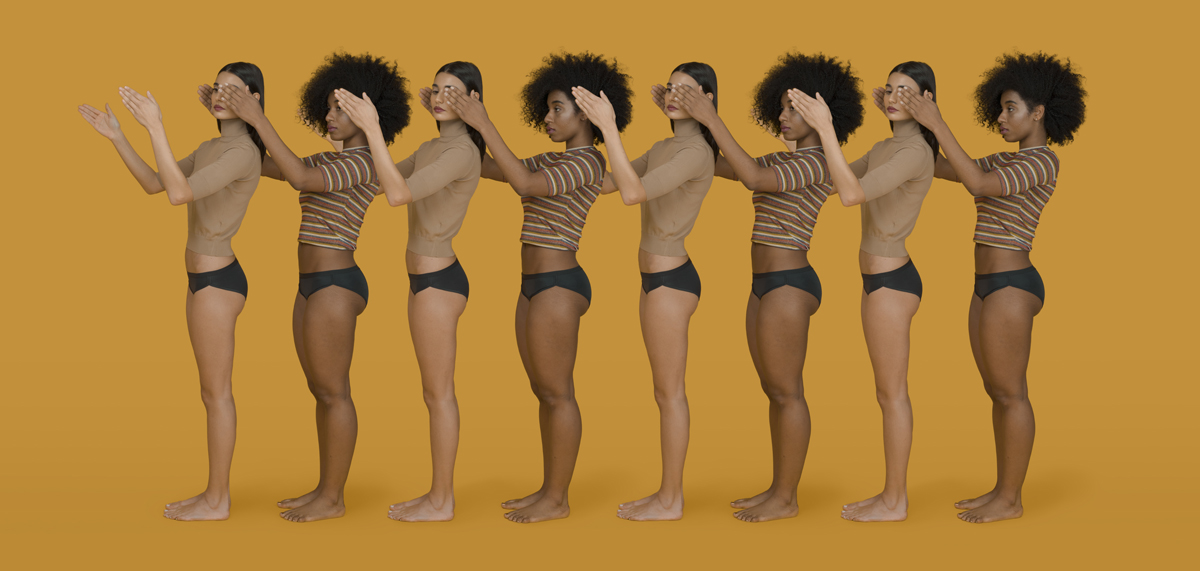 "Top and above: Models show off examples of underwear in the Thinx range, which are designed to be ""period proof"""