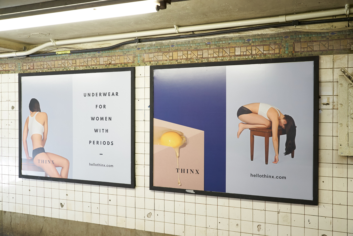 Poster ads for Thinx as they appeared in the New York Subway