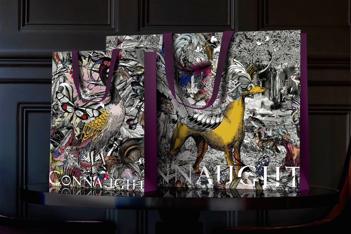 The Partners worked with Kristjana S Williams to create a range of materials for The Connaught hotel