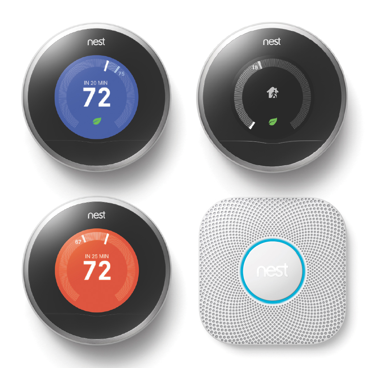 Nest third generation thermostats and the new Nest Protect smoke and carbon monoxide alarm (in white). Both the systems work in conjunction with the Nest app. More details at nest.com