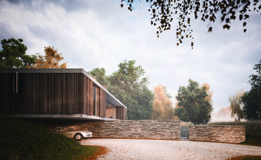 Visualisation of a private house in Dorset by Peter Guthrie for Ström Architects (made  in collaboration with Henry Goss Architects). More at peterguthrie.net.