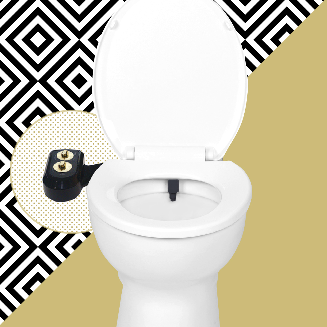 Promotional image for Tushy, a bidet attachment that can be fitted to a regular loo