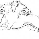Two-headed dog drawing in ink. This is used in the CD booklet and the vinyl album inner sleeve. At one point, Polly and I had the idea that the animals would be like characters and leave the coat of arms and start wandering around. The dog is referred to in a poem in Polly And Seamus's book of poems and Photos The Hollow of The Hand. This is my favourite incarnation of him because he hasn't got that ugly forward-facing head. He is more mellow.
