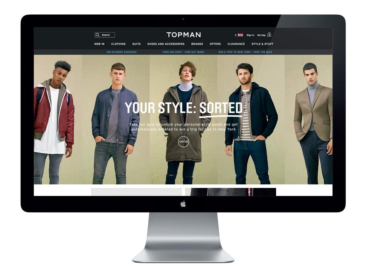Screenshot of Topman website showing five different models