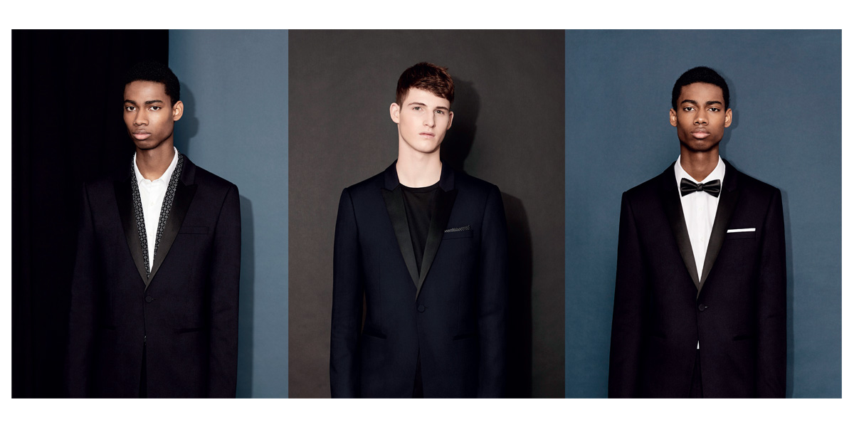 Models wearing Topman tuxedos styles in three different ways