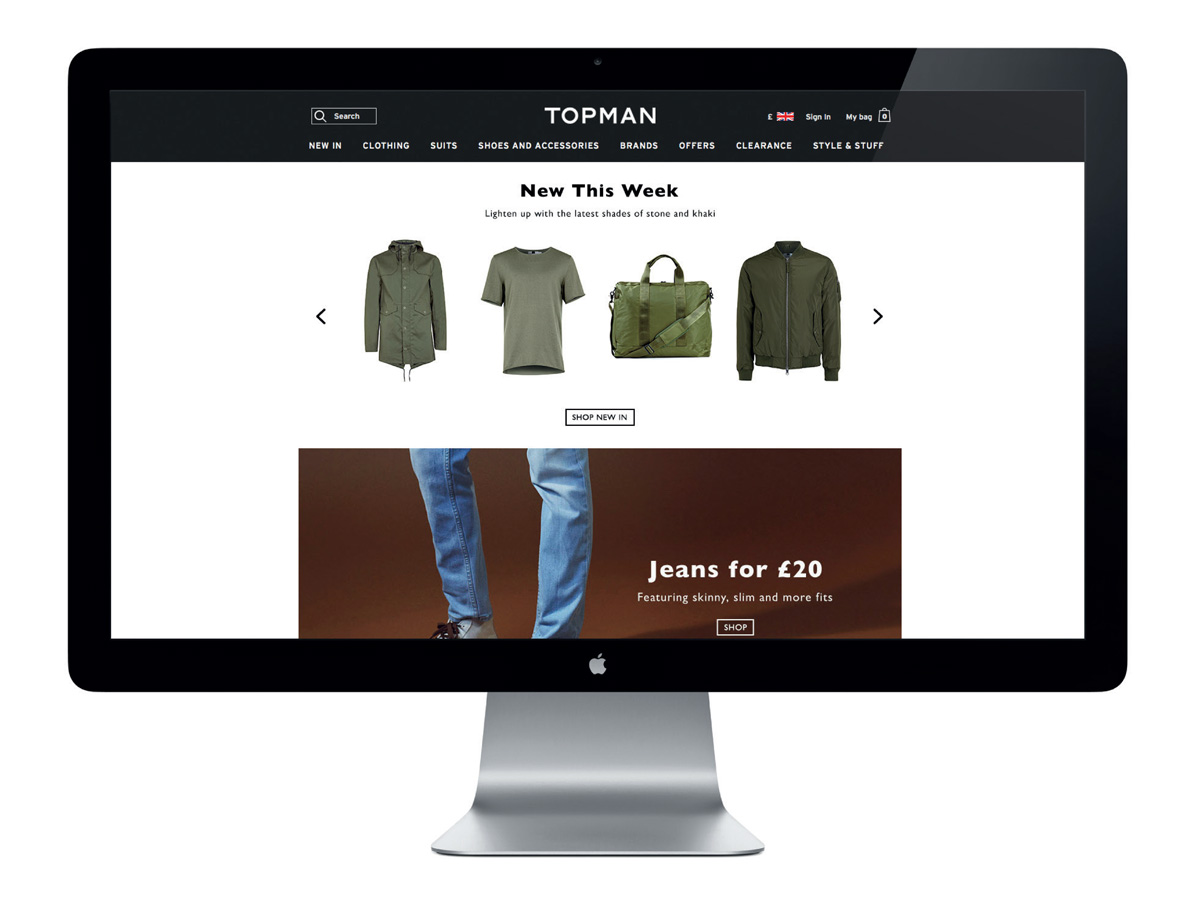 Screenshot of New In page on Topman website