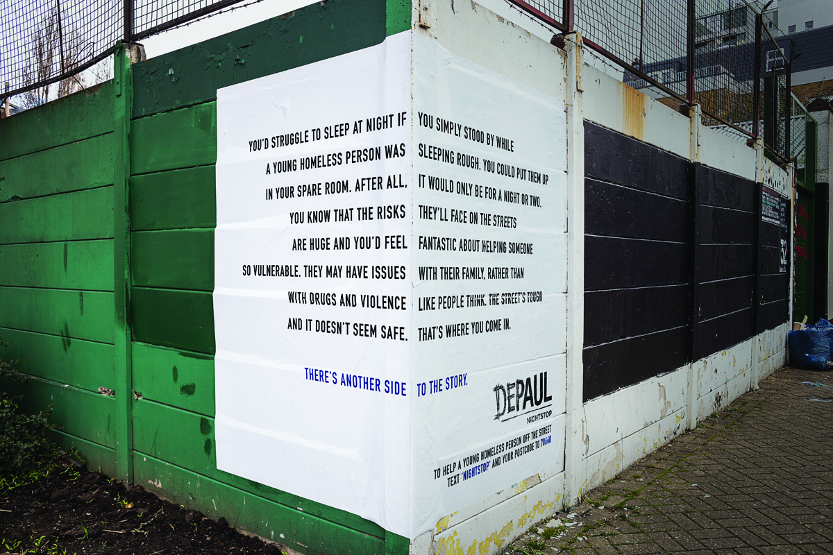 Corner poster for charity Depaul UK by Publicis London. Art director: Dan Kennard, Copywriter: Ben Smith