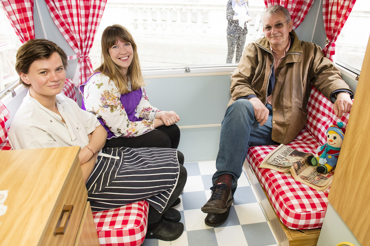 (L-R) Ellen Parr, Alice Hodge and Martin Parr inside the food van, (Photo by Jeff Spicer/Getty Images for Photo London)